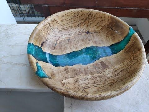 Wood Bowl with Ocean Inspired Resin Accent
