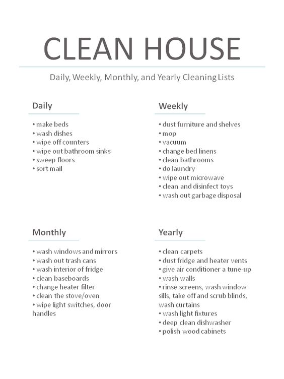 Master Cleaning List