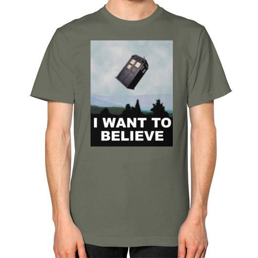 I Want to Believe... in The Doctor Unisex T-Shirt (on man)