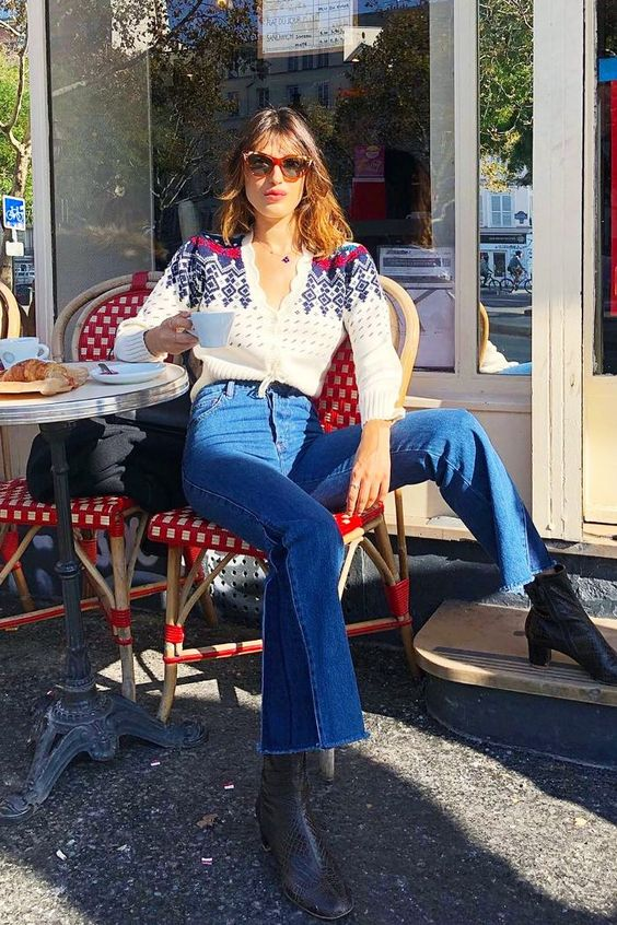 Classic French fashion: Jeanne Damas wearing Rouje jumper and jeans