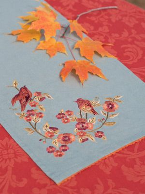 Aviary Embroidered Table Scarf Table Linens Kitchen