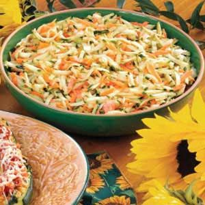 To try: zucchini slaw recipe with a sweet/tart/creamy dressing.