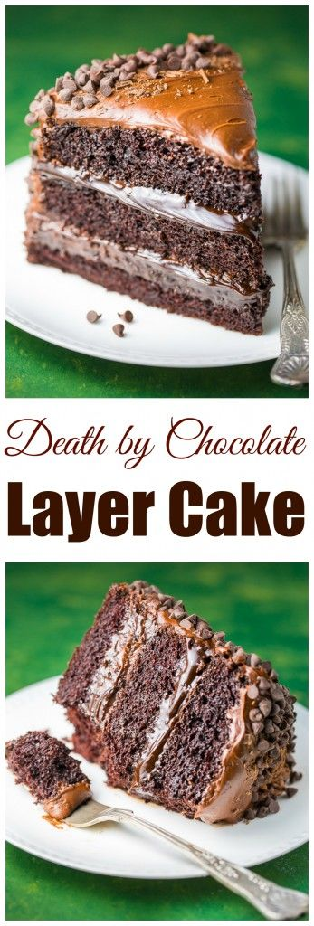 This Death by Chocolate Cake is for SERIOUS chocolate lovers only! Click through for the surprisingly easy recipe!