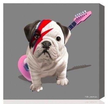 tableau deco chien bouledogue fran ais teo stardust guitariste rock gris id e. Black Bedroom Furniture Sets. Home Design Ideas