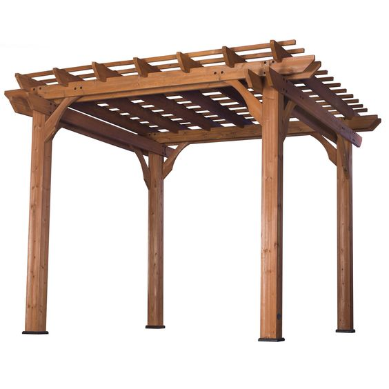 "A beautiful, cedar pergola that adds a ""Mediterranean feel"" to any patio area. This pergola will give your patio wonderful, shaded, natural beauty that will let you enjoy hours of relaxation."
