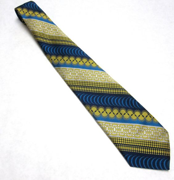 Vintage Necktie Blue Yellow Striped Tie by sweetie2sweetie on Etsy, $8.99