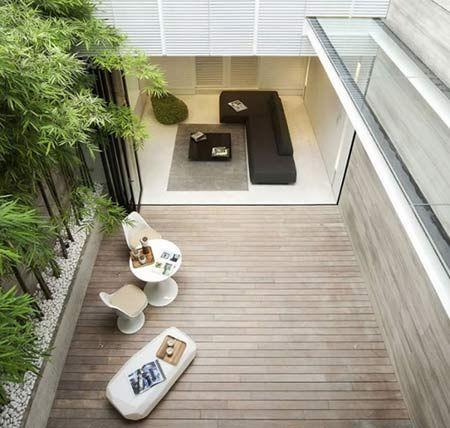 Integração quarto/sala-área externa. Bamboo hedging, minimalist garden/courtyard