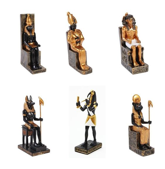 Egyptian Throne Horus Pharaoh Sekhmet Anubis Osiris Thoth Mini Figurine Set of 6