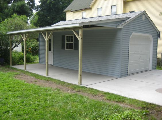 Detached garage ideas 14 39 x 24 39 1 car garage with a 10 for Detached garage plans with carport
