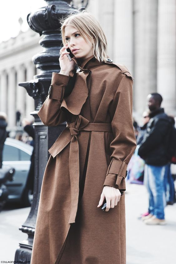 Paris_Fashion_Week-Fall_Winter_2015-Street_Style-PFW-Elena_Perminova_Trench-1: