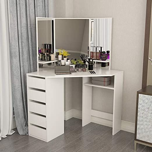 Corner Vanity Table White Makeup Desk With Three Fold Mirror And 5 Drawers Wooden Bedroom Dres In 2020 Corner Vanity Table Corner Dressing Table Bedroom Dressing Table