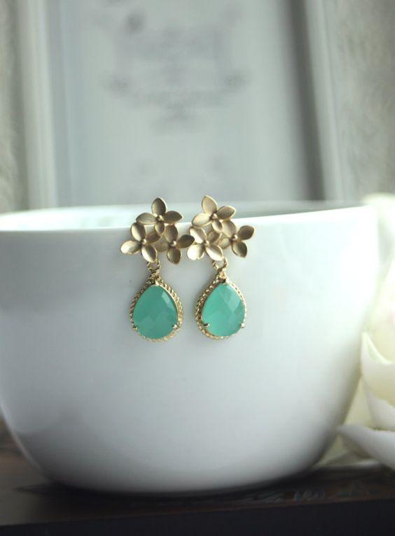A Cherry Blossom Gold Framed Minst Green Glass Jewel by Marolsha, $24.50