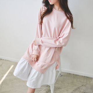 Ruffle-Hem Cotton Pullover Dress