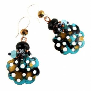'Secrets of the night' handmade copper and agate earrings