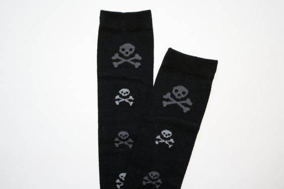 Black with Grey and White Skulls for Infant Baby or Toddler Leg Warmers Leggings. $7.77, via Etsy.