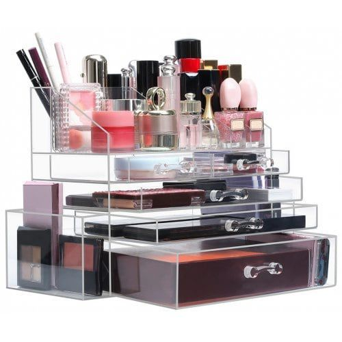 Langria Clear Acrylic Makeup Organizer Countertop Jewelry And