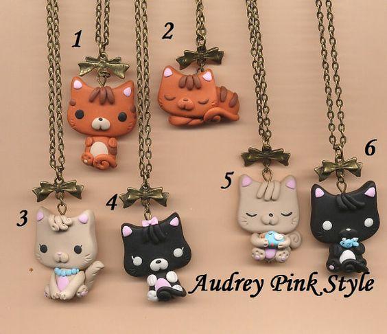 Collar de gato de gatito en fimo polímero arcilla collares kawaii Lolita