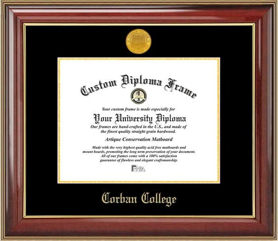 Corban College Diploma Frame - Gold Medallion - Mahogany Gold Trim