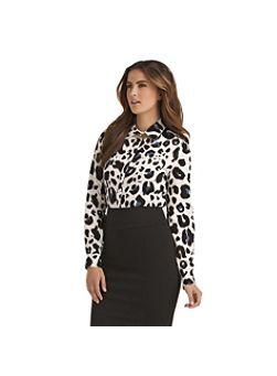 Kardashian Kollection Women's Blue Leopard Night Button Down Shirt