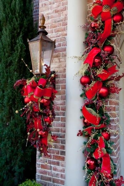 Coordinate a colorful swag under your porch lights to for Christmas swags and garlands to make