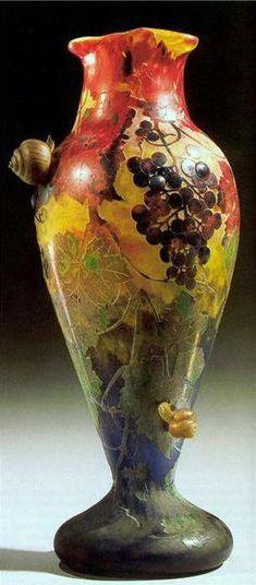 Art Nouveau - Vase 'Escargots' - Pâte de Verre - Emile Gallé