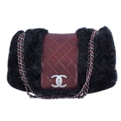Chanel 16in. Burgundy Maxi XL Jumbo Quilted Classic Fur Vested Fantasy Flap Bag | Portero Luxury
