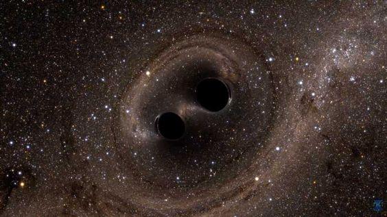Simulering från LIGO. Två svarta hål kolliderar med varandra och skapar graviationsvågor!