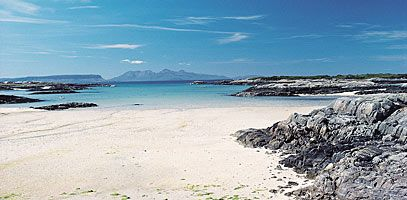 The coastline around Arisaig, towards the end of the Road to the Isles on the west coast of Scotland