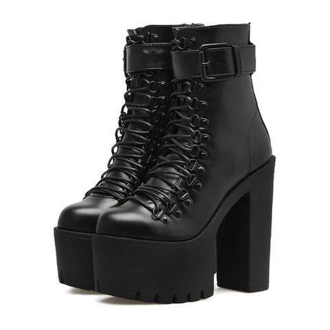 Les Femmes Compensées Chaussures Fermeture Éclair Punk Goth Boucle Femmes Bottines à Lacets Taille