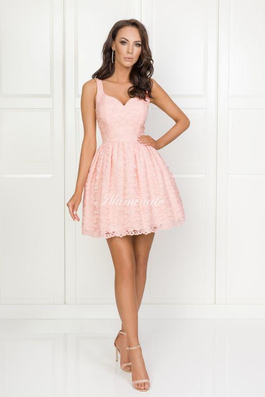 Marcelline Koronkowa Sukienka Pudrowy Roz Dresses Graduation Dress Fashion