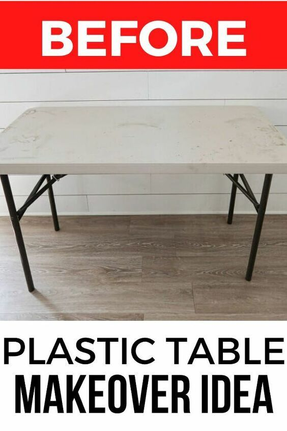 How To Makeover A Plastic Folding Table Idea Diy In 2020 Table Makeover White Plastic Table Plastic Tables