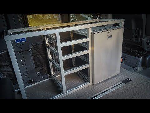 Extruded Aluminum Galley Framing Diy Sprinter Camper Van Youtube Diy Sprinter Camper Sprinter Camper Aluminum Kitchen Cabinets