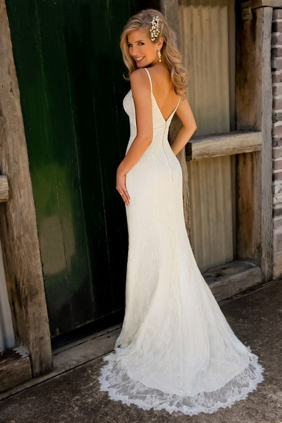 lace wedding dresses | Slim Fitting Sheer Lace Fishtail Gown By (Back) | Elizabeths Bridal ...