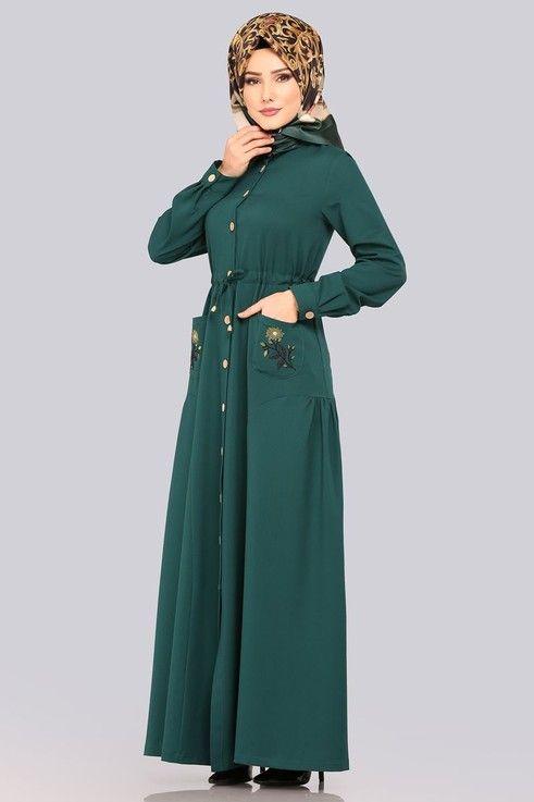 Modaselvim Elbise Cebi Nakisli Elbise Ferace 5081ay342 Zumrut Pakistani Fashion Fashion High Neck Dress