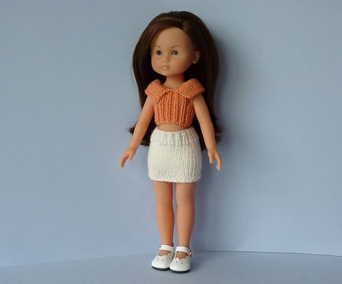 A collared top and straight skirt outfit for Barbie.