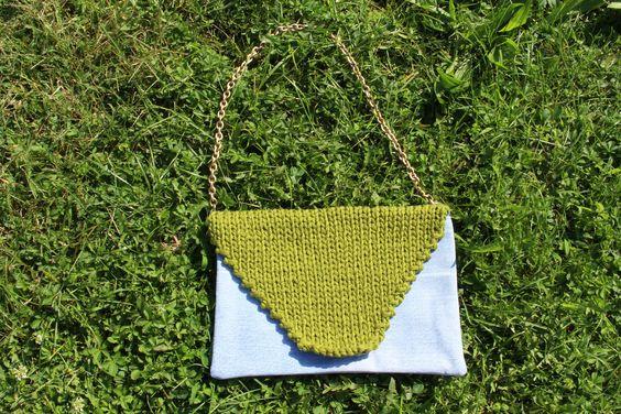 Green, blue and denim,, cotton, knitted handmade purse  * borsa verde, blu e…