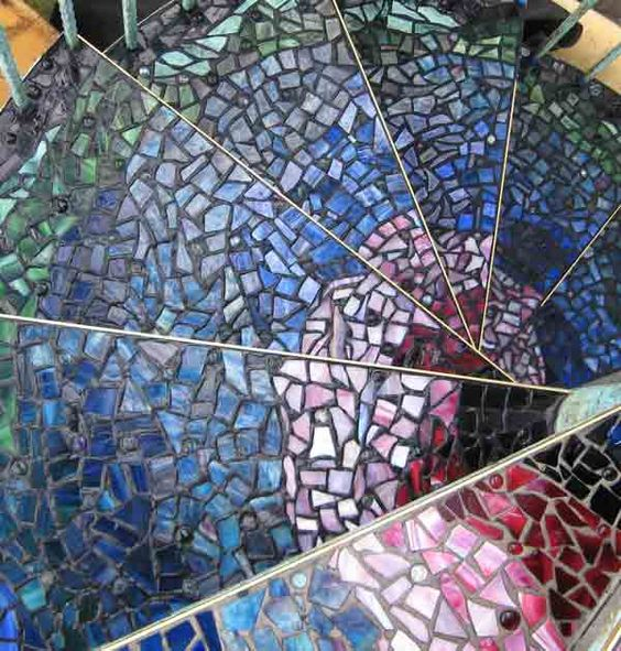Detail of Glass Mosaic Steps on Spiral Stairs by Celinda's Glass Design