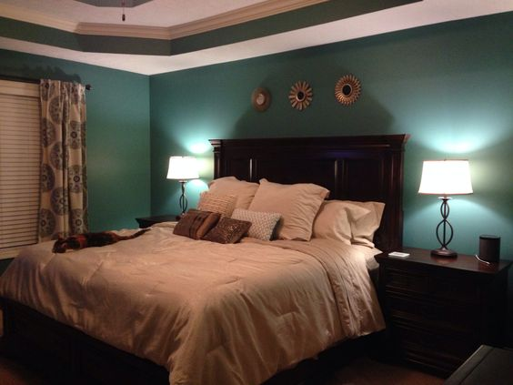 this our bedroom after the makeover we used valspar liquid jade on