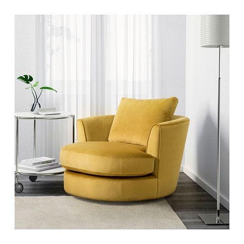 Fasalt Swivel Armchair Velvet Yellow