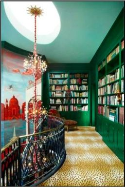 Green Bookshelves at Hutton's House