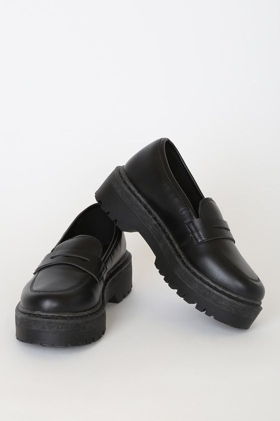 Vegan leather shoes, Chunky loafers