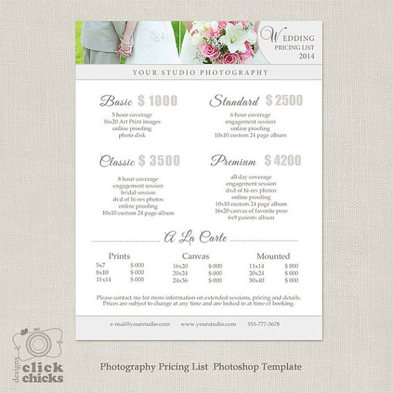 wedding photography package pricing list template photography pricing guide price list. Black Bedroom Furniture Sets. Home Design Ideas