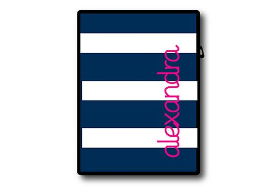 $32.00 Custom iPad Cover, Awning Stripe Navy on OneKingsLane.com