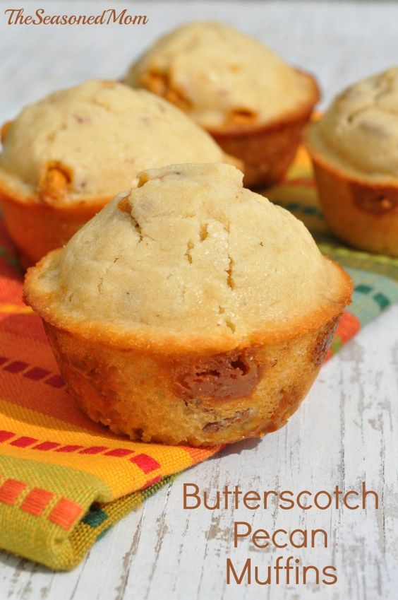 These Butterscotch Pecan muffins are tender, moist, and packed full of sweet Fall flavors. They are the perfect make-ahead breakfast for special holiday brunches or for mornings on-the-go!