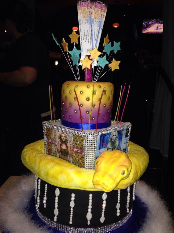 My amazing Britney Spears birthday cake!!! With Vegas tickets!!!