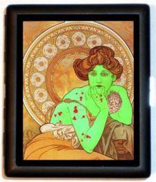 Zombie Art Nouveau Victorian Woman with Brain Horror Goth Id Cigarette ...