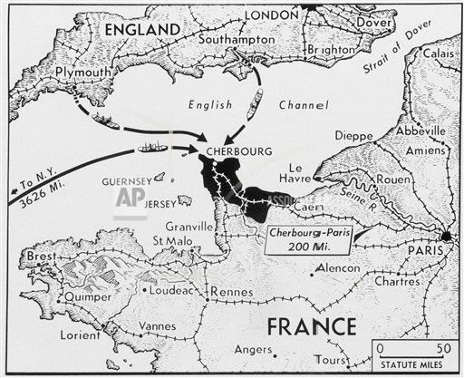 Watchf AP I   FRA APHS48941 Map Of D-Day Invasion