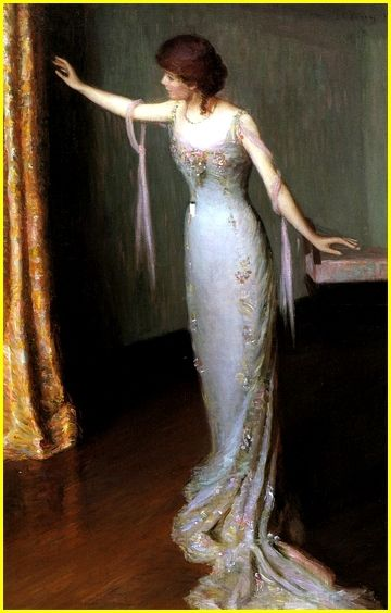 Lilla Cabot Perry 1848-1933 United States Dame en robe de soirée 1911  Huile sur toile 91,44 x 60.96 cm National Museum of Women in the Arts, Washington, United States..jpg