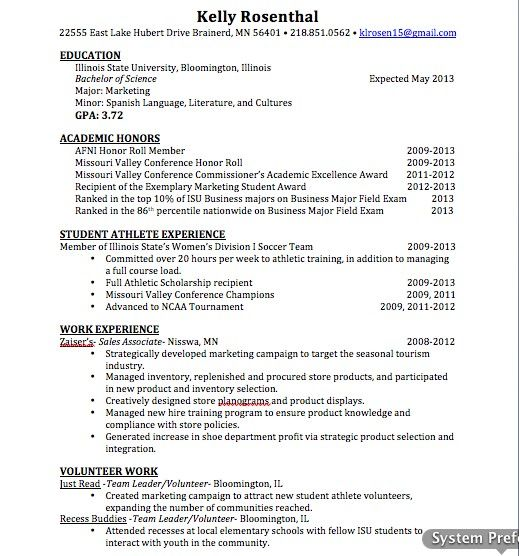 Student Athlete Resume Updated Marketingsales Resume  About Me  Pinterest