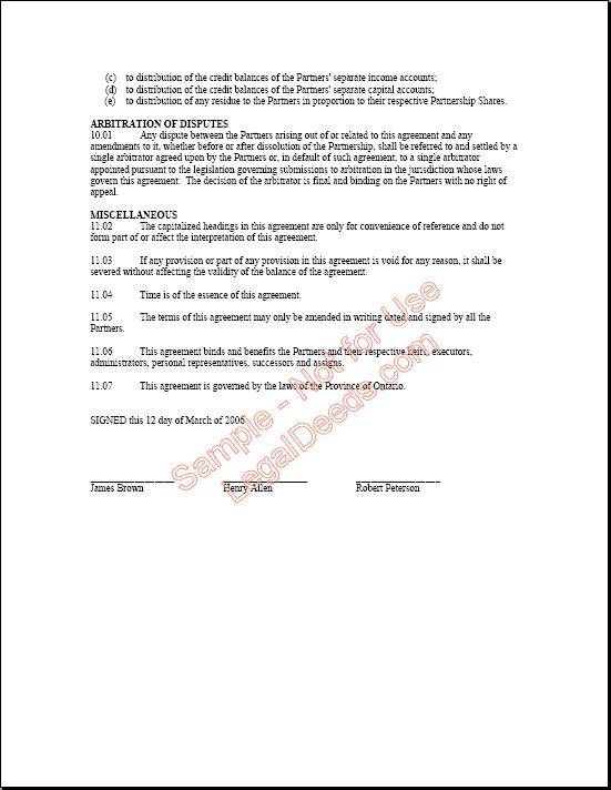 Printable Sample Partnership Agreement Sample Form – Sample Partnership Agreement Form